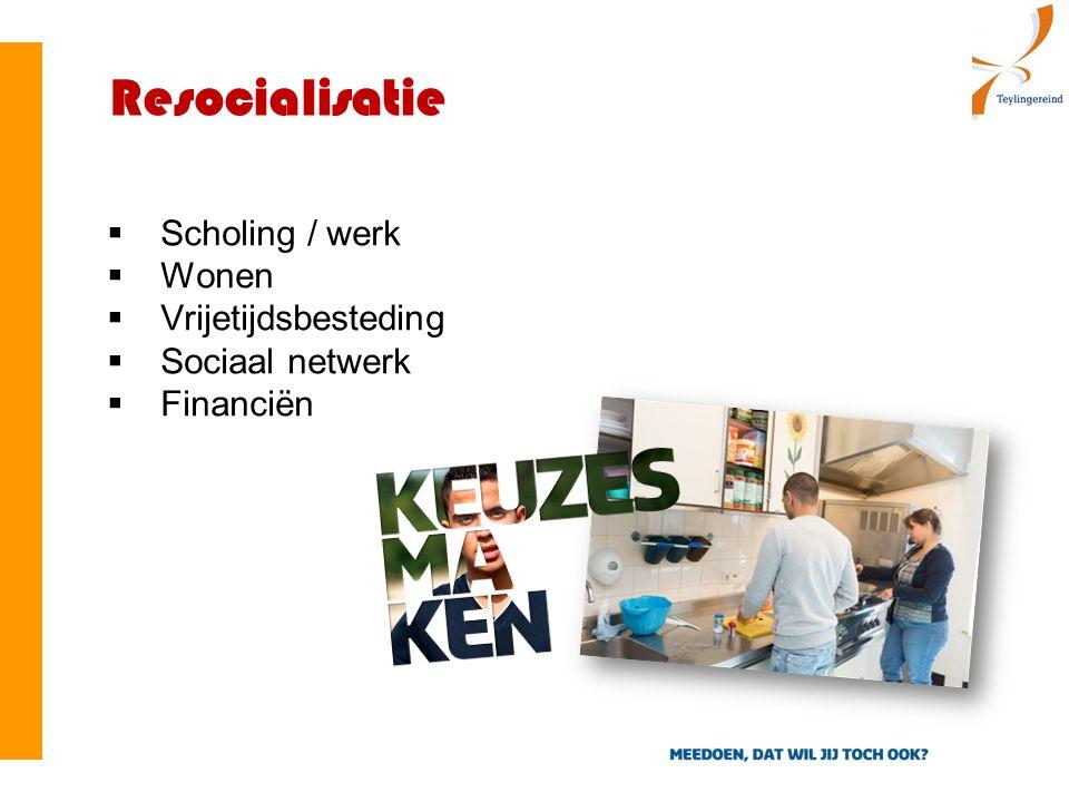 Resocialisatie  Scholing / werk  Wonen  Vrijetijdsbesteding  Sociaal netwerk  Financiën
