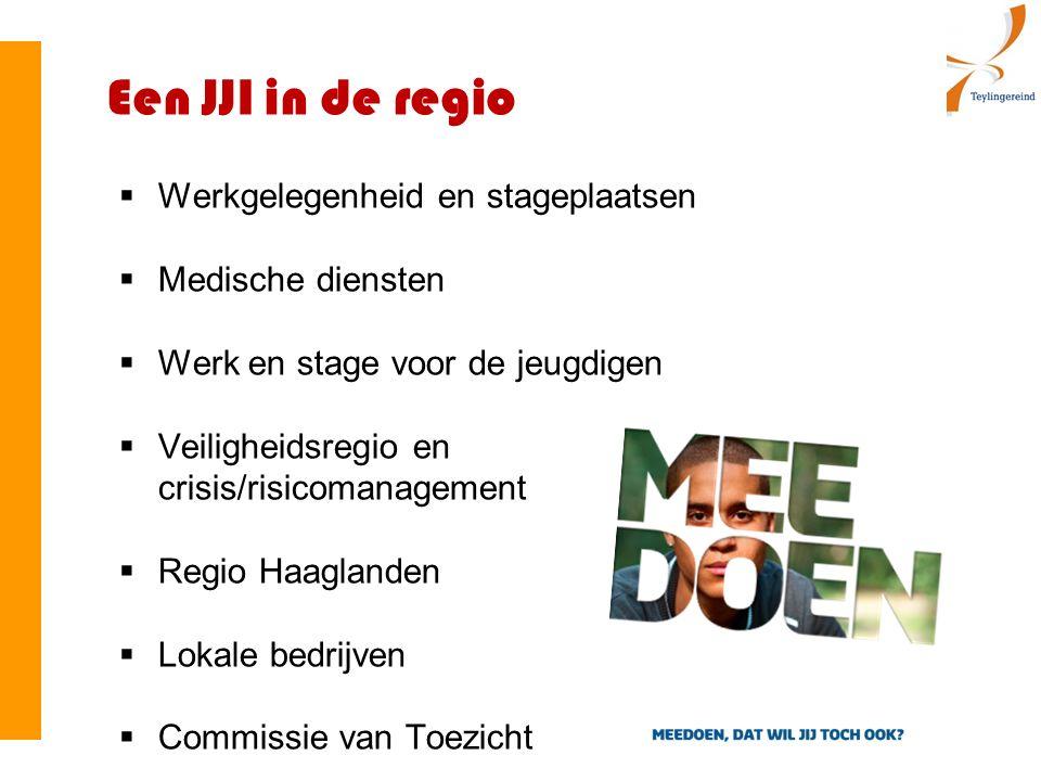 Een JJI in de regio  Werkgelegenheid en stageplaatsen  Medische diensten  Werk en stage voor de jeugdigen  Veiligheidsregio en crisis/risicomanagement  Regio Haaglanden  Lokale bedrijven  Commissie van Toezicht