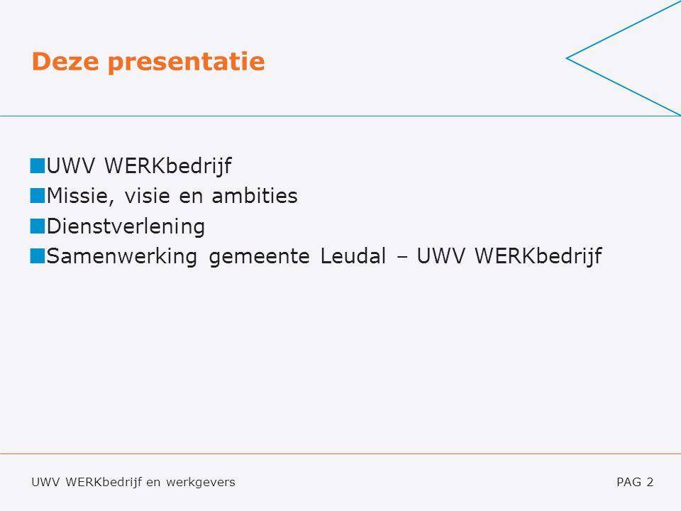 UWV WERKbedrijf en werkgeversPAG 2 Deze presentatie UWV WERKbedrijf Missie, visie en ambities Dienstverlening Samenwerking gemeente Leudal – UWV WERKbedrijf