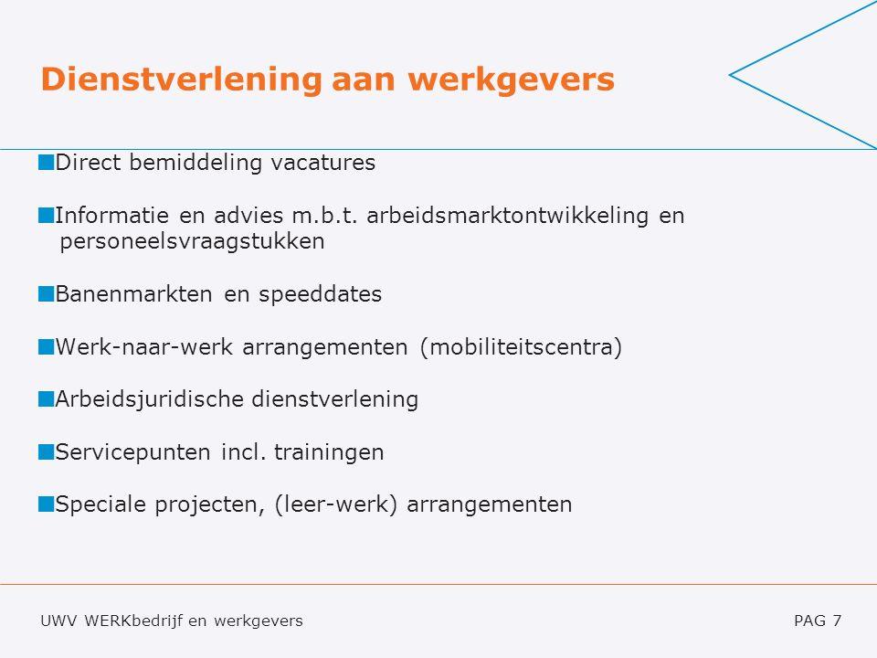 UWV WERKbedrijf en werkgeversPAG 7 Dienstverlening aan werkgevers Direct bemiddeling vacatures Informatie en advies m.b.t.