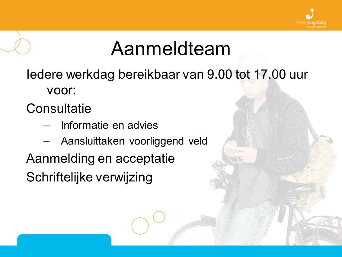 Aanmeldteam Iedere werkdag bereikbaar van 9.00 tot 17.00 uur voor: Consultatie –Informatie en advies –Aansluittaken voorliggend veld Aanmelding en acceptatie Schriftelijke verwijzing
