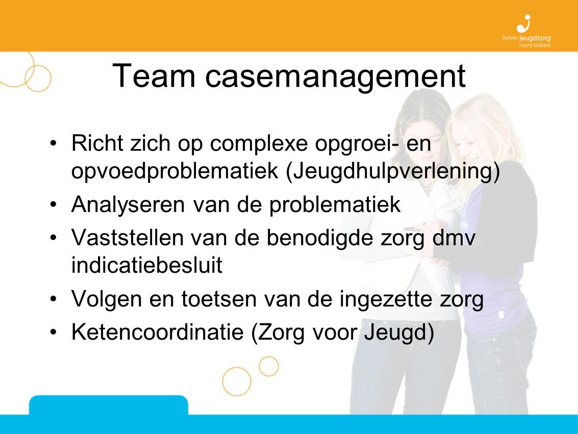 Team casemanagement Richt zich op complexe opgroei- en opvoedproblematiek (Jeugdhulpverlening) Analyseren van de problematiek Vaststellen van de benodigde zorg dmv indicatiebesluit Volgen en toetsen van de ingezette zorg Ketencoordinatie (Zorg voor Jeugd)