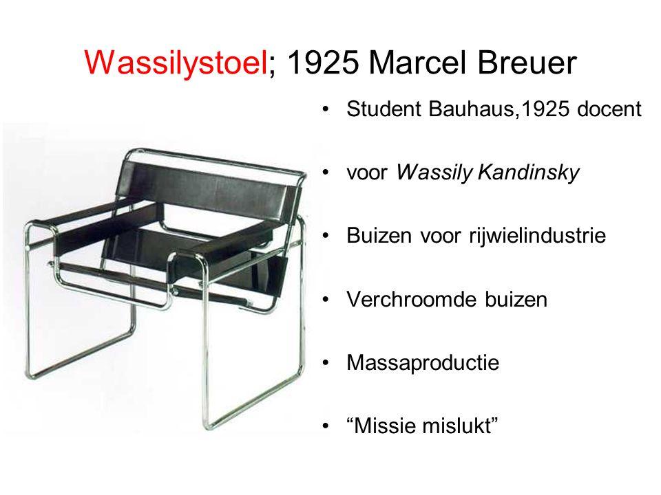 Wassilystoel; 1925 Marcel Breuer Student Bauhaus,1925 docent voor Wassily Kandinsky Buizen voor rijwielindustrie Verchroomde buizen Massaproductie Missie mislukt