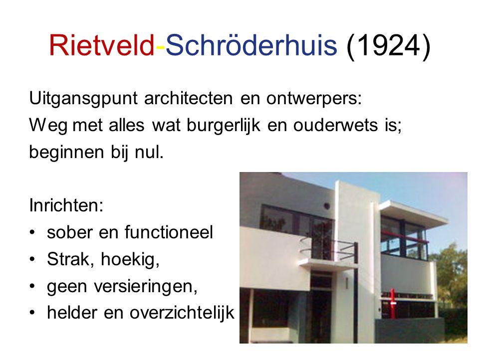 Rietveld-Schröderhuis (1924) Uitgansgpunt architecten en ontwerpers: Weg met alles wat burgerlijk en ouderwets is; beginnen bij nul.