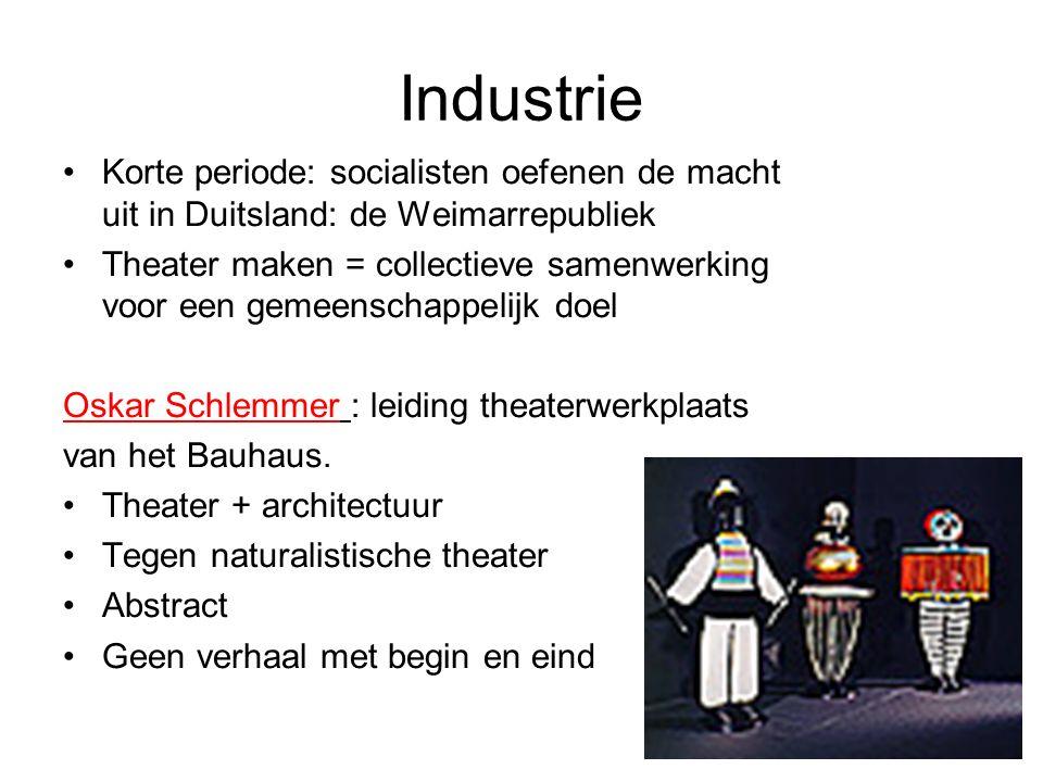 Industrie Korte periode: socialisten oefenen de macht uit in Duitsland: de Weimarrepubliek Theater maken = collectieve samenwerking voor een gemeenschappelijk doel Oskar Schlemmer : leiding theaterwerkplaats van het Bauhaus.