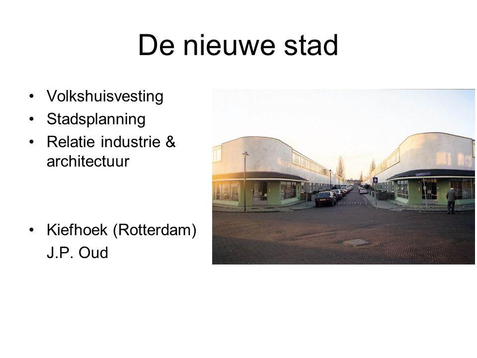 De nieuwe stad Volkshuisvesting Stadsplanning Relatie industrie & architectuur Kiefhoek (Rotterdam) J.P.