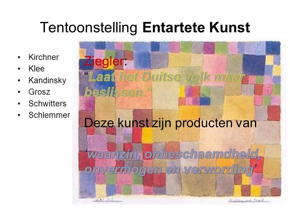 Tentoonstelling Entartete Kunst Kirchner Klee Kandinsky Grosz Schwitters Schlemmer