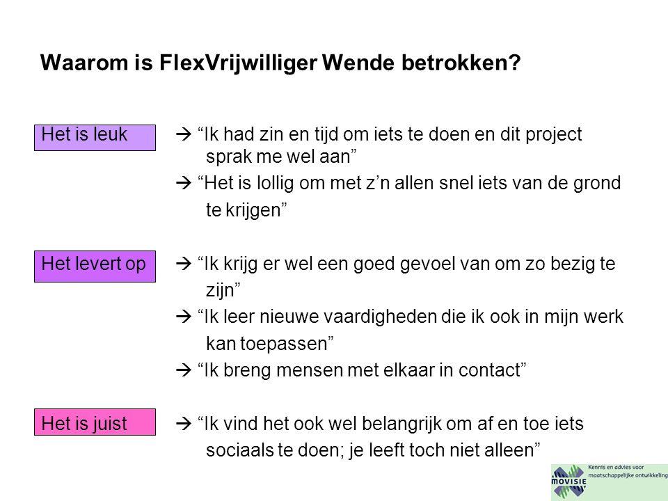 Waarom is FlexVrijwilliger Wende betrokken.