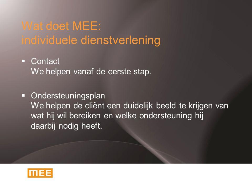 Wat doet MEE: individuele dienstverlening  Contact We helpen vanaf de eerste stap.  Ondersteuningsplan We helpen de cliënt een duidelijk beeld te kr