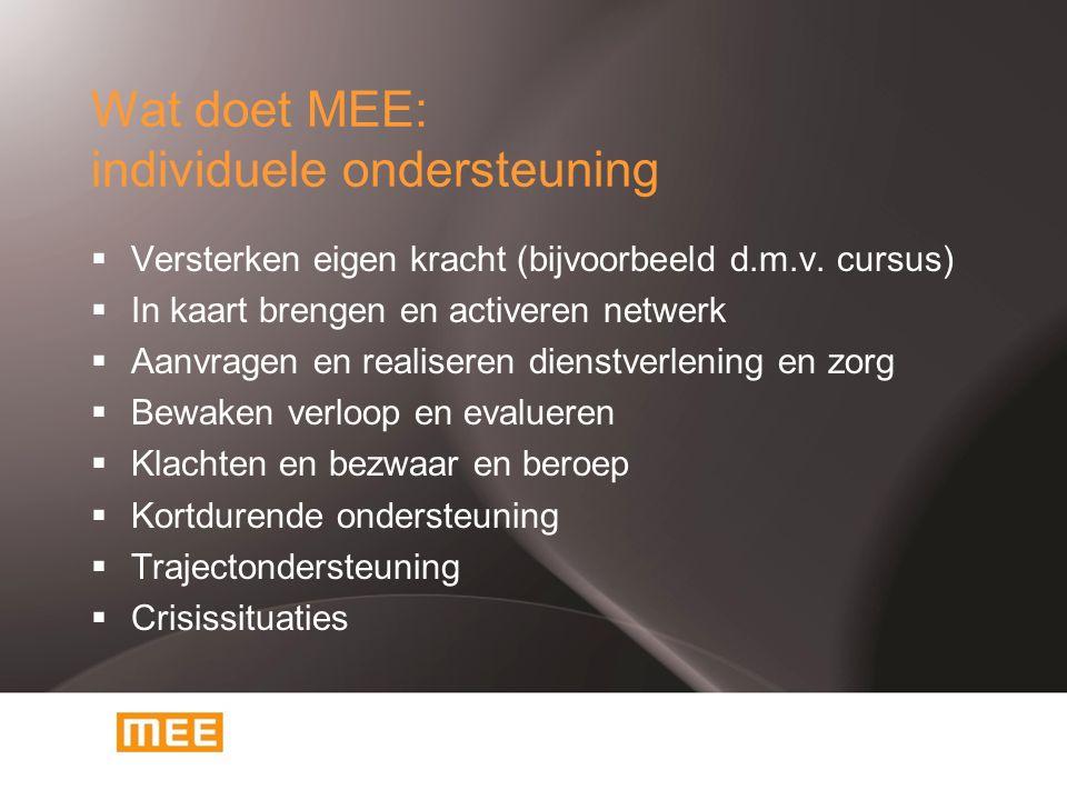 Wat doet MEE: individuele ondersteuning  Versterken eigen kracht (bijvoorbeeld d.m.v. cursus)  In kaart brengen en activeren netwerk  Aanvragen en