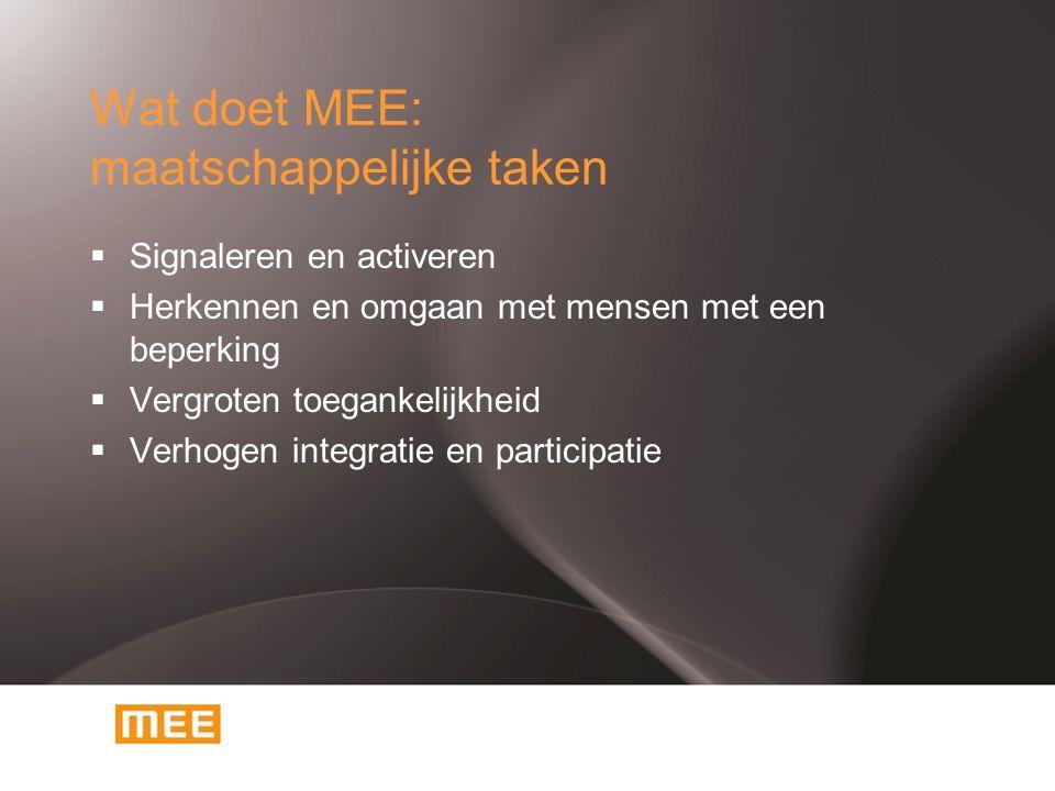 Wat doet MEE: maatschappelijke taken  Signaleren en activeren  Herkennen en omgaan met mensen met een beperking  Vergroten toegankelijkheid  Verho