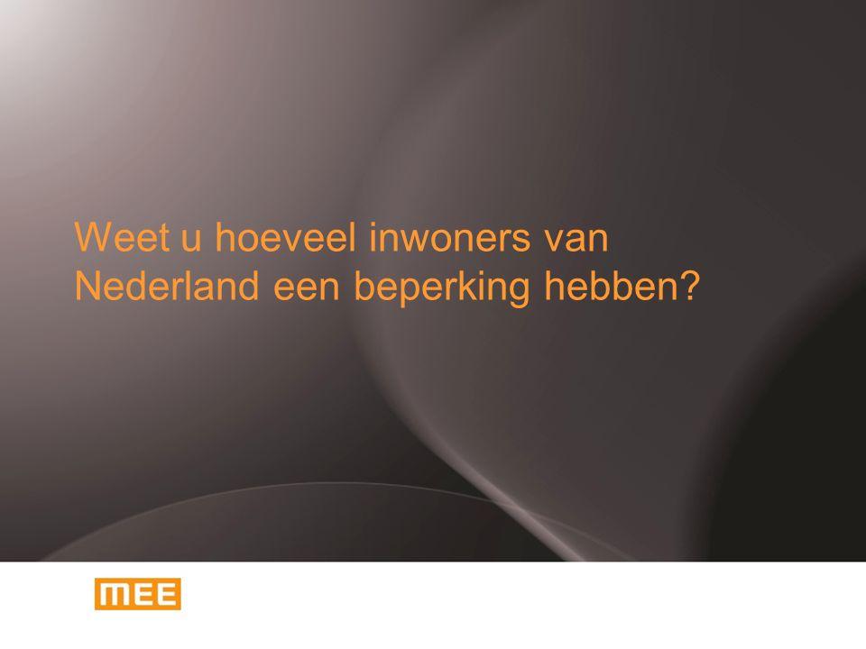 Weet u hoeveel inwoners van Nederland een beperking hebben?