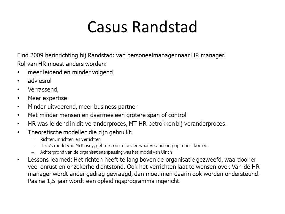 Casus Randstad Eind 2009 herinrichting bij Randstad: van personeelmanager naar HR manager. Rol van HR moest anders worden: meer leidend en minder volg