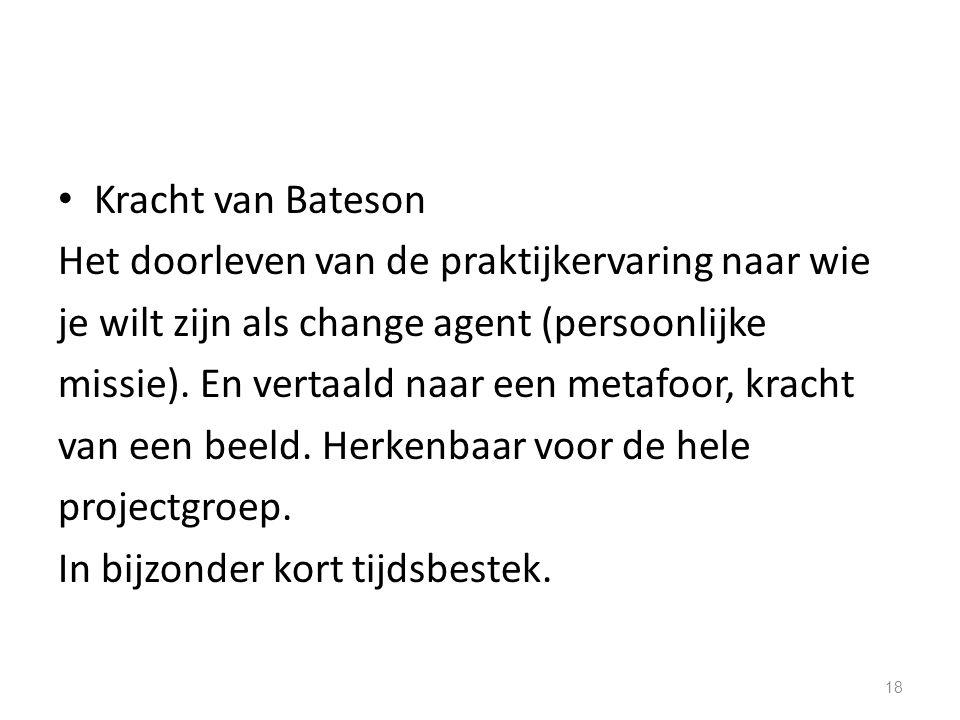 Kracht van Bateson Het doorleven van de praktijkervaring naar wie je wilt zijn als change agent (persoonlijke missie). En vertaald naar een metafoor,