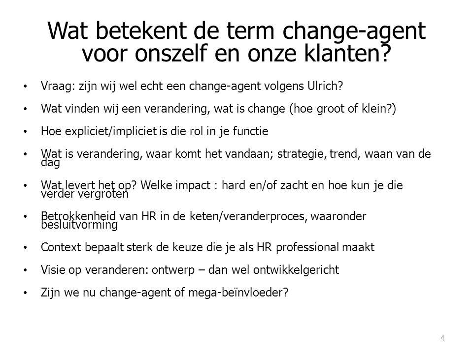 Wat betekent de term change-agent voor onszelf en onze klanten? Vraag: zijn wij wel echt een change-agent volgens Ulrich? Wat vinden wij een veranderi