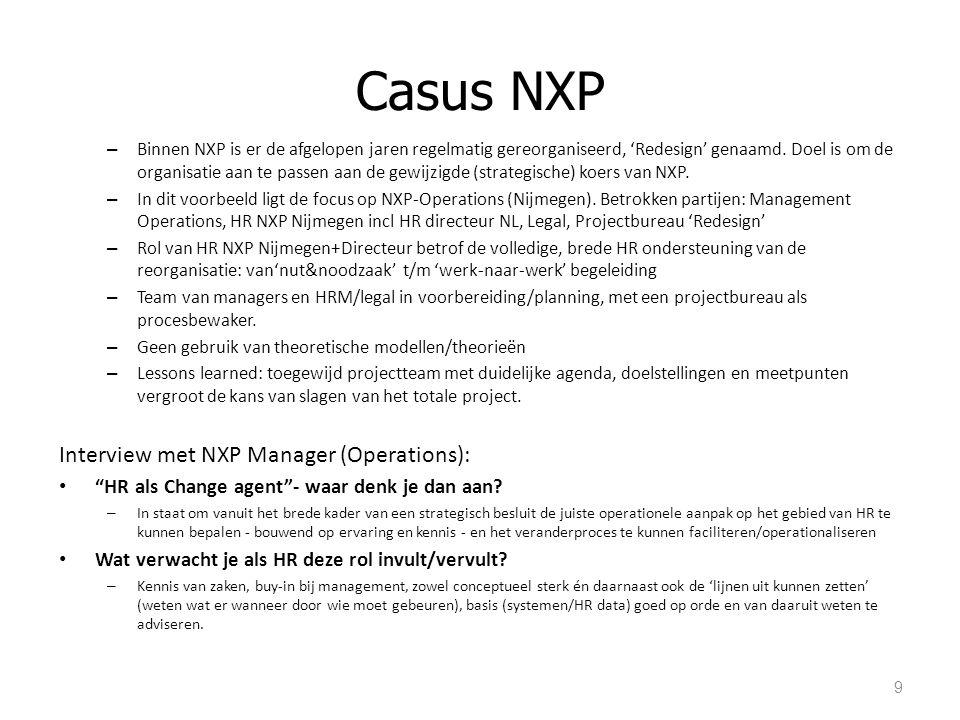Casus NXP – Binnen NXP is er de afgelopen jaren regelmatig gereorganiseerd, 'Redesign' genaamd. Doel is om de organisatie aan te passen aan de gewijzi