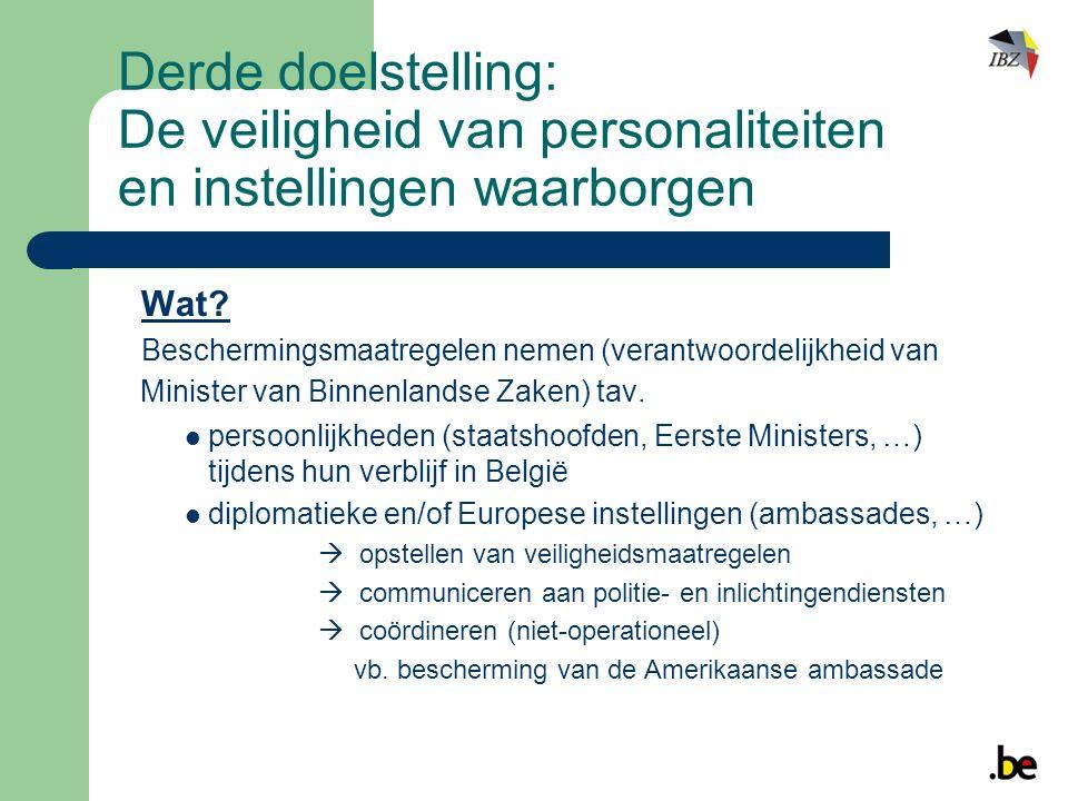 Derde doelstelling: De veiligheid van personaliteiten en instellingen waarborgen Wat.