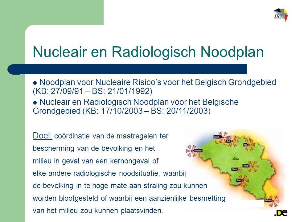 Nucleair en Radiologisch Noodplan Noodplan voor Nucleaire Risico's voor het Belgisch Grondgebied (KB: 27/09/91 – BS: 21/01/1992) Nucleair en Radiologisch Noodplan voor het Belgische Grondgebied (KB: 17/10/2003 – BS: 20/11/2003) Doel: coördinatie van de maatregelen ter bescherming van de bevolking en het milieu in geval van een kernongeval of elke andere radiologische noodsituatie, waarbij de bevolking in te hoge mate aan straling zou kunnen worden blootgesteld of waarbij een aanzienlijke besmetting van het milieu zou kunnen plaatsvinden.