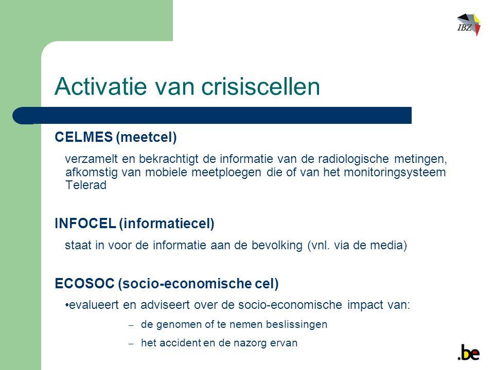 CELMES (meetcel) verzamelt en bekrachtigt de informatie van de radiologische metingen, afkomstig van mobiele meetploegen die of van het monitoringsysteem Telerad INFOCEL (informatiecel) staat in voor de informatie aan de bevolking (vnl.