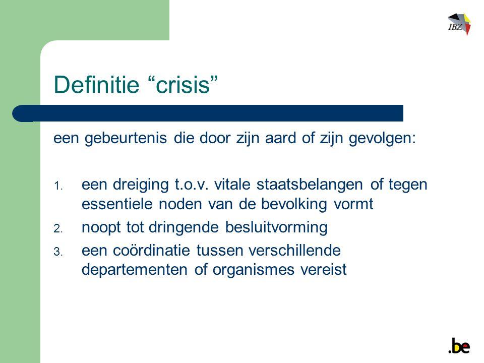 Definitie crisis een gebeurtenis die door zijn aard of zijn gevolgen:  een dreiging t.o.v.
