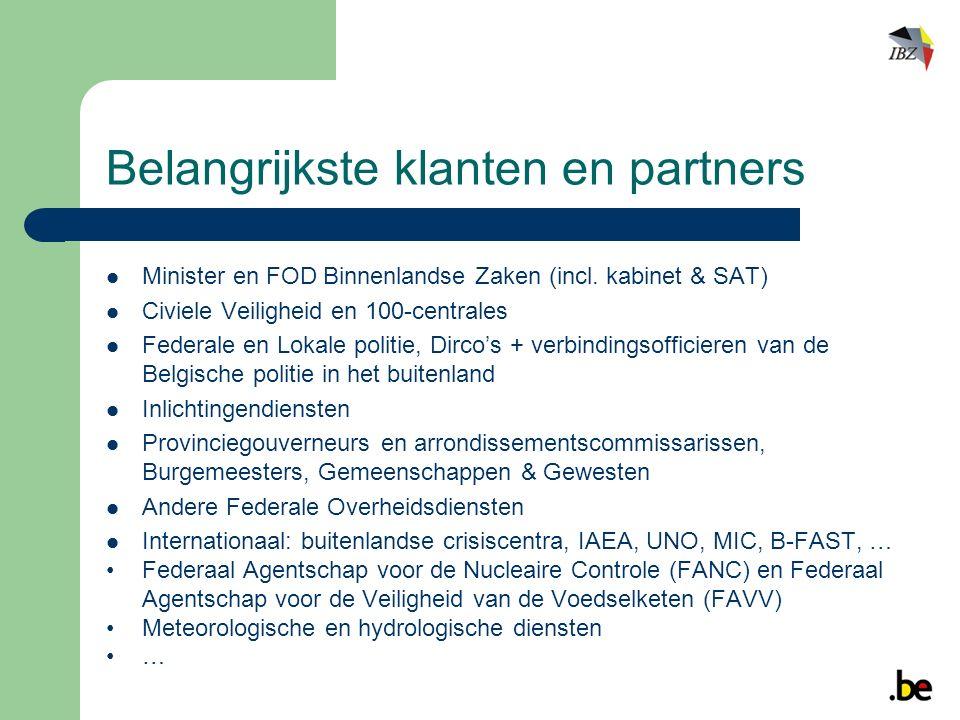 Belangrijkste klanten en partners Minister en FOD Binnenlandse Zaken (incl.