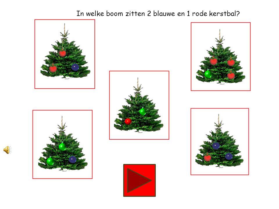 In welke boom zitten 2 groene en 1 blauwe kerstbal?