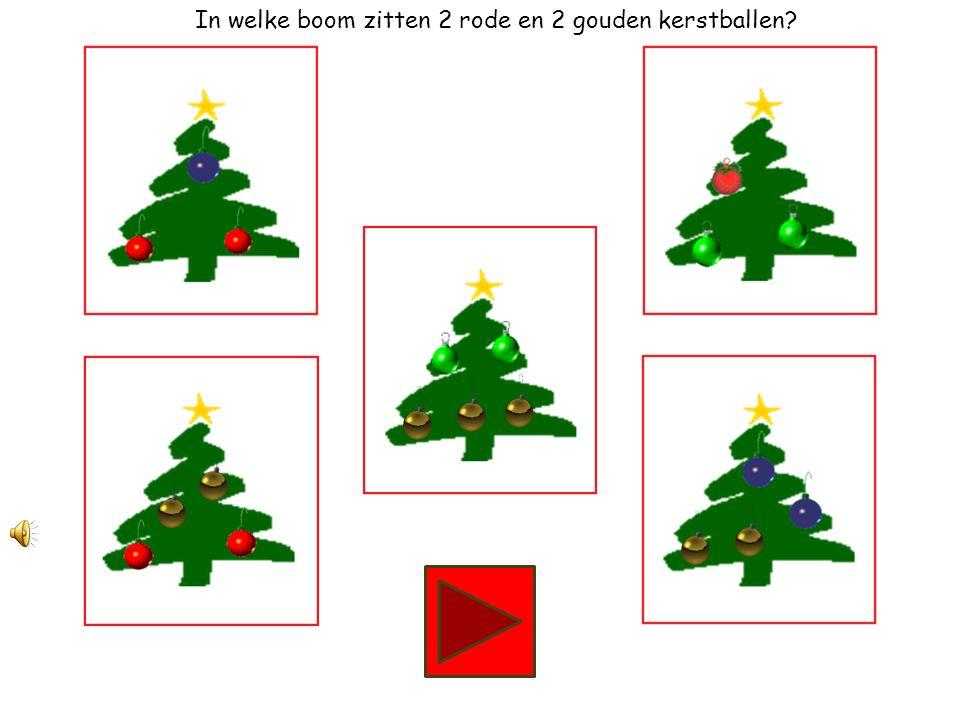 In welke boom zitten 2 groene en 1 rode kerstbal?