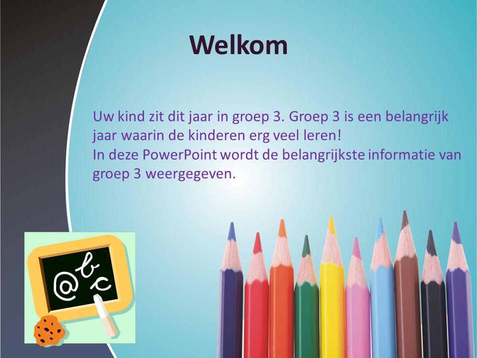 Welkom Uw kind zit dit jaar in groep 3. Groep 3 is een belangrijk jaar waarin de kinderen erg veel leren! In deze PowerPoint wordt de belangrijkste in