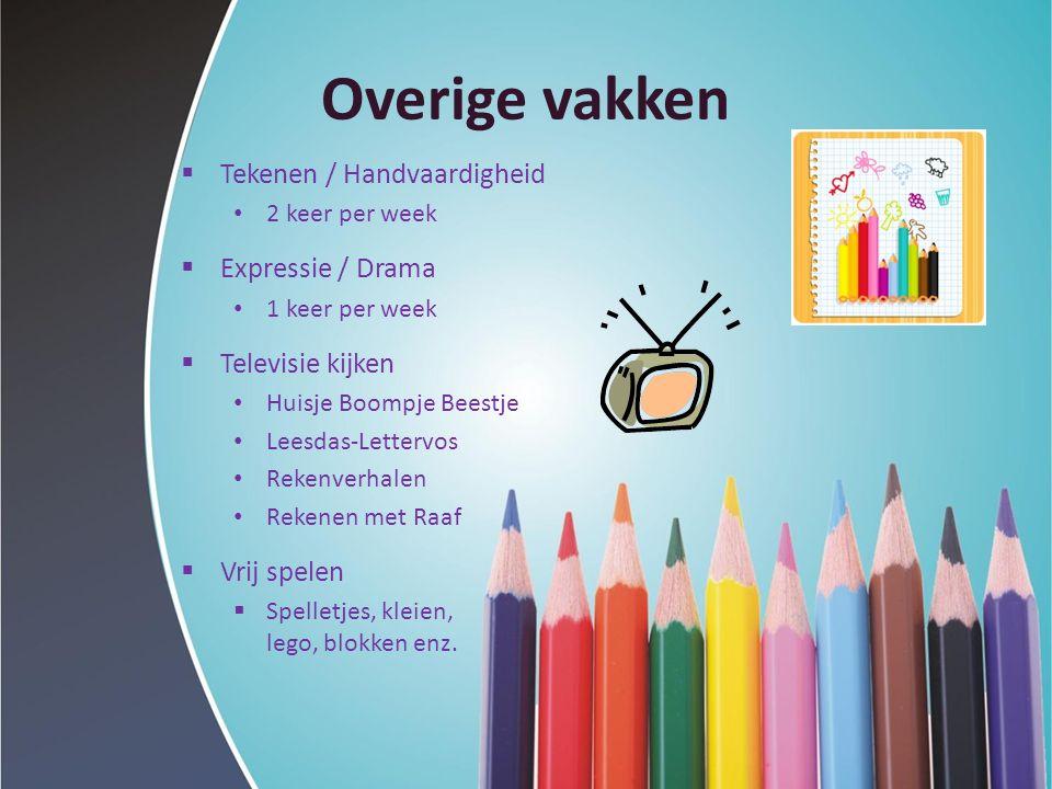 Overige vakken  Tekenen / Handvaardigheid 2 keer per week  Expressie / Drama 1 keer per week  Televisie kijken Huisje Boompje Beestje Leesdas-Lette