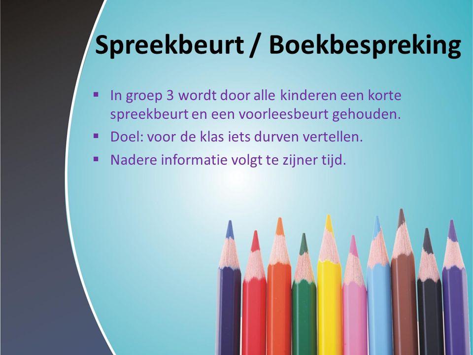 Spreekbeurt / Boekbespreking  In groep 3 wordt door alle kinderen een korte spreekbeurt en een voorleesbeurt gehouden.  Doel: voor de klas iets durv