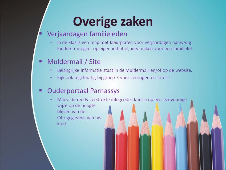 Overige zaken  Verjaardagen familieleden In de klas is een map met kleurplaten voor verjaardagen aanwezig. Kinderen mogen, op eigen initiatief, iets