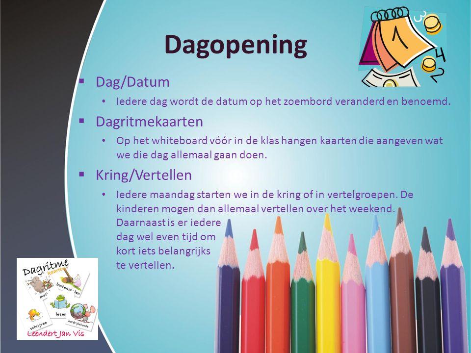 Dagopening  Dag/Datum Iedere dag wordt de datum op het zoembord veranderd en benoemd.  Dagritmekaarten Op het whiteboard vóór in de klas hangen kaar