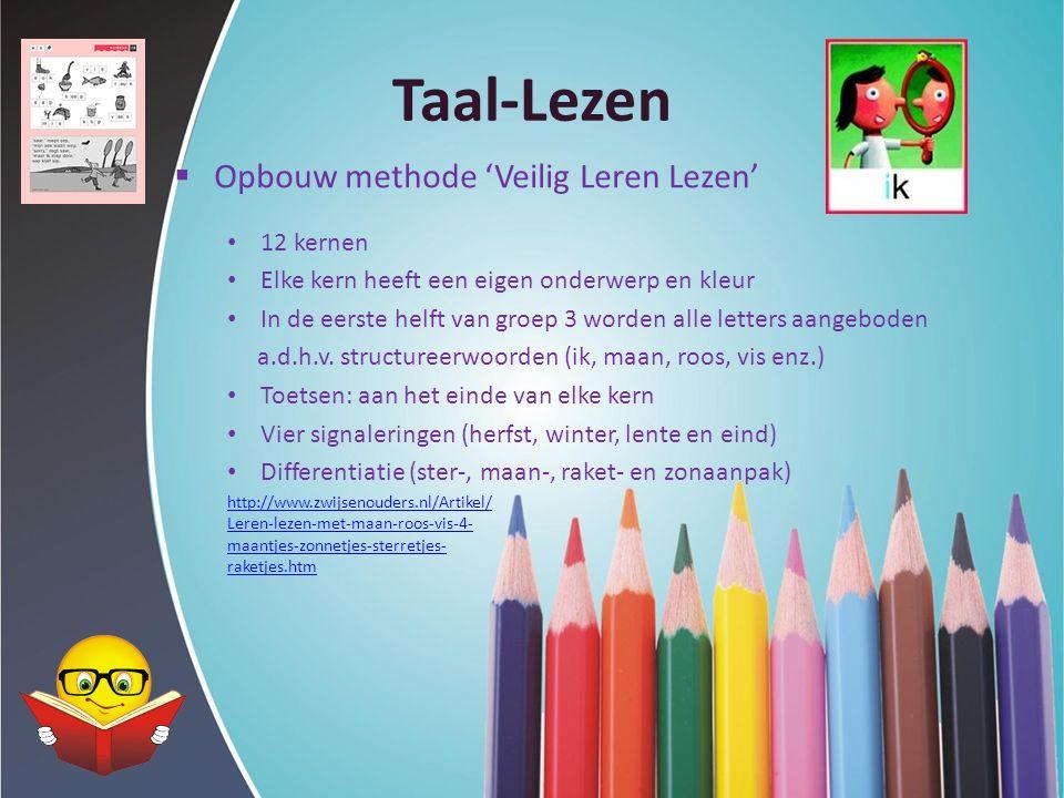 Taal-Lezen  Opbouw methode 'Veilig Leren Lezen' 12 kernen Elke kern heeft een eigen onderwerp en kleur In de eerste helft van groep 3 worden alle let