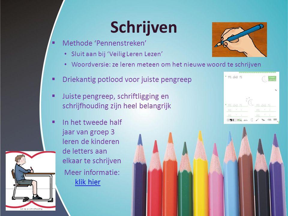 Schrijven  Methode 'Pennenstreken' Sluit aan bij 'Veilig Leren Lezen' Woordversie: ze leren meteen om het nieuwe woord te schrijven  Driekantig potl