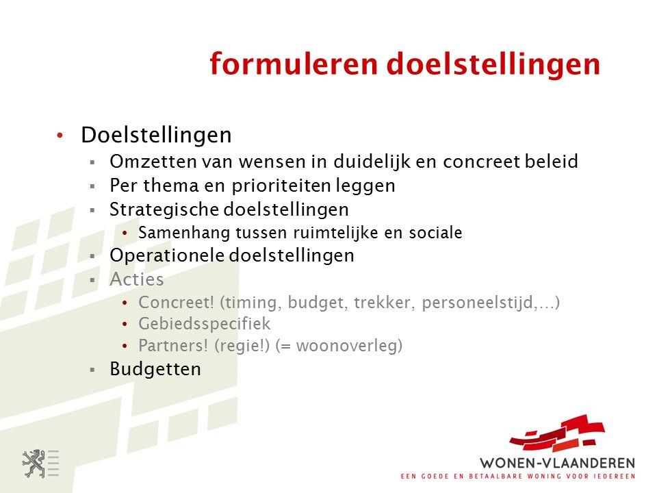 formuleren doelstellingen Doelstellingen  Omzetten van wensen in duidelijk en concreet beleid  Per thema en prioriteiten leggen  Strategische doelstellingen Samenhang tussen ruimtelijke en sociale  Operationele doelstellingen  Acties Concreet.
