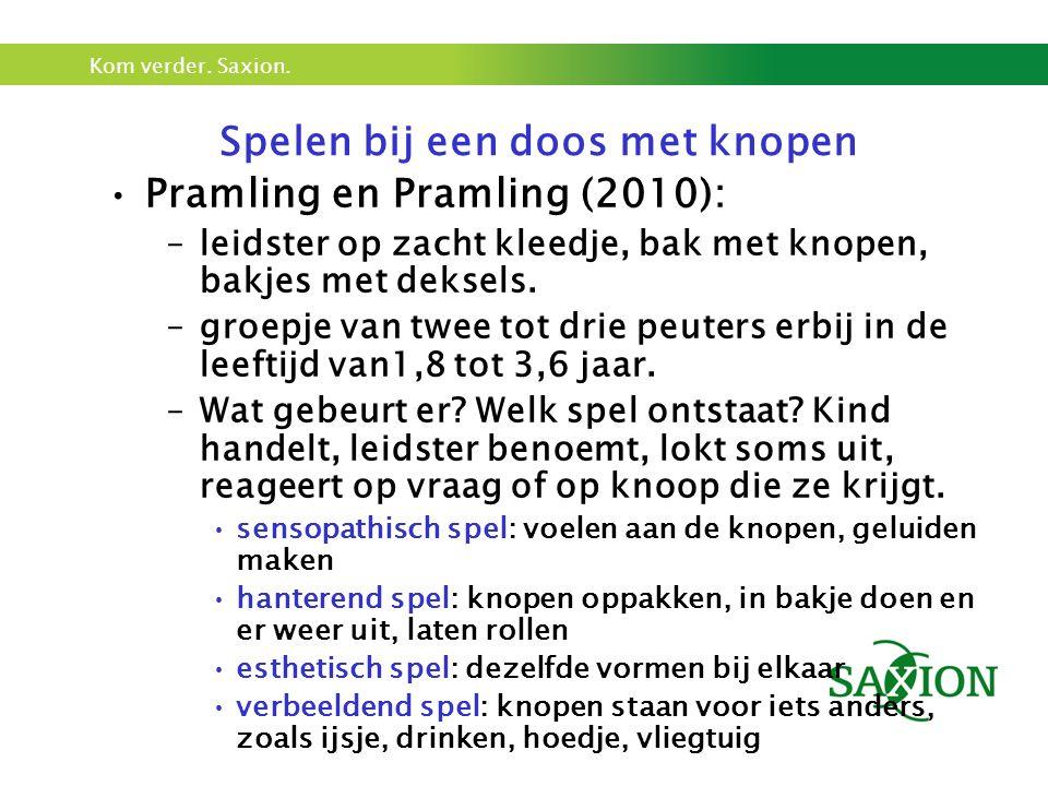 Kom verder. Saxion. Spelen bij een doos met knopen Pramling en Pramling (2010): –leidster op zacht kleedje, bak met knopen, bakjes met deksels. –groep