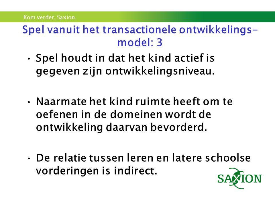 Kom verder. Saxion. Spel vanuit het transactionele ontwikkelings- model: 3 Spel houdt in dat het kind actief is gegeven zijn ontwikkelingsniveau. Naar