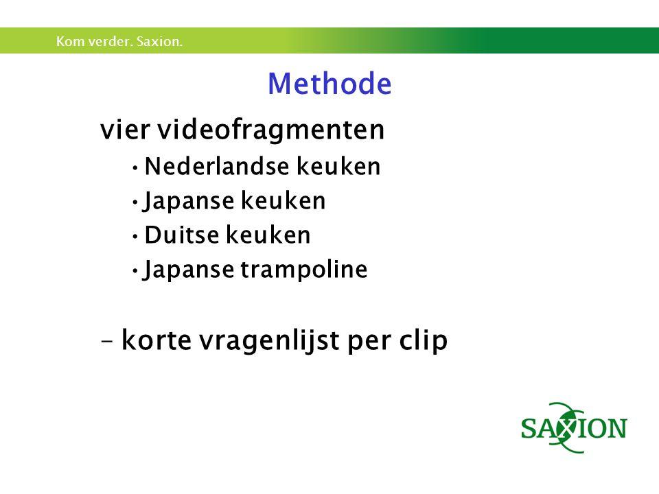 Kom verder. Saxion. vier videofragmenten Nederlandse keuken Japanse keuken Duitse keuken Japanse trampoline –korte vragenlijst per clip Methode