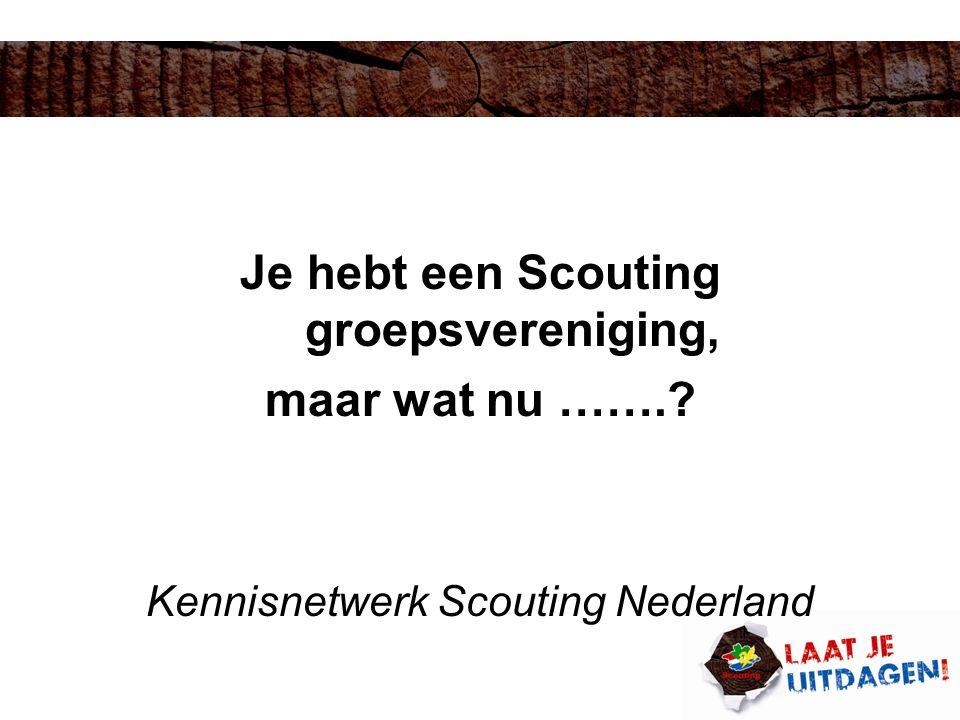 Structuur rechtspersonen Scouting Nederland Vereniging Scouting Nederland Landelijke raad =algemene ledenvergadering Landelijk bestuur=verenigingsbestuur Regiostichting Regioraad (gedeelte) regiobestuur = stichtingsbestuur Groepsvereniging Groepsraad =algemene ledenvergadering Groepsbestuur =verenigingsbestuur