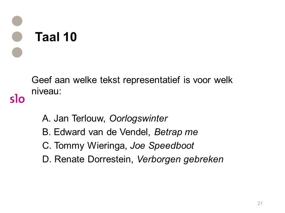 Taal 10 Geef aan welke tekst representatief is voor welk niveau: A. Jan Terlouw, Oorlogswinter B. Edward van de Vendel, Betrap me C. Tommy Wieringa, J