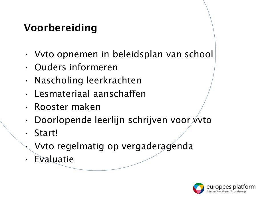 Voorbereiding Vvto opnemen in beleidsplan van school Ouders informeren Nascholing leerkrachten Lesmateriaal aanschaffen Rooster maken Doorlopende leer