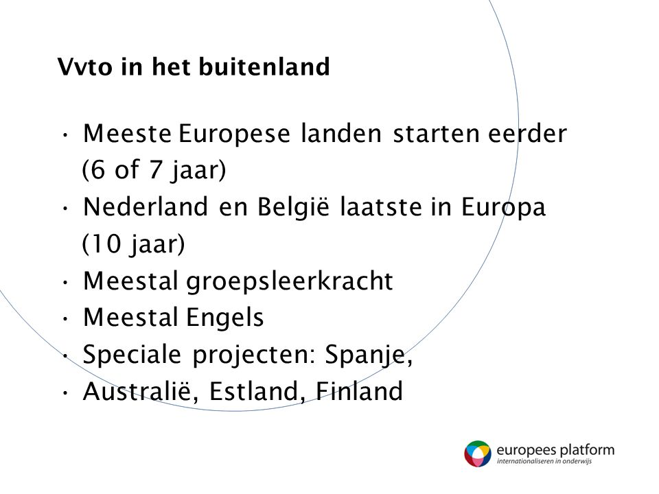 Vvto in het buitenland Meeste Europese landen starten eerder (6 of 7 jaar) Nederland en België laatste in Europa (10 jaar) Meestal groepsleerkracht Meestal Engels Speciale projecten: Spanje, Australië, Estland, Finland