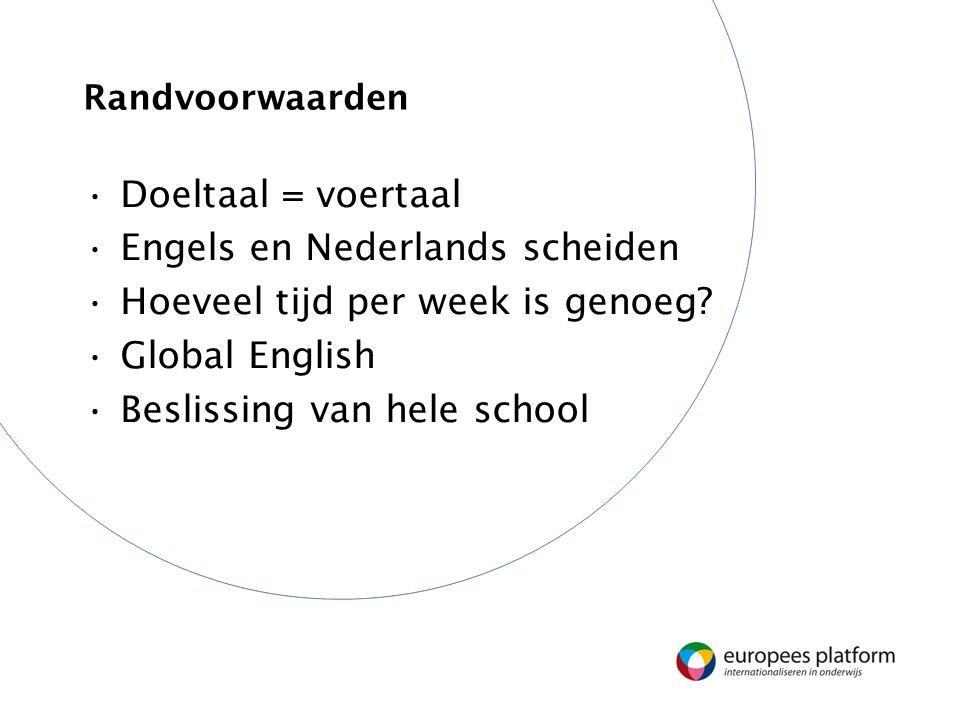 Randvoorwaarden Doeltaal = voertaal Engels en Nederlands scheiden Hoeveel tijd per week is genoeg? Global English Beslissing van hele school