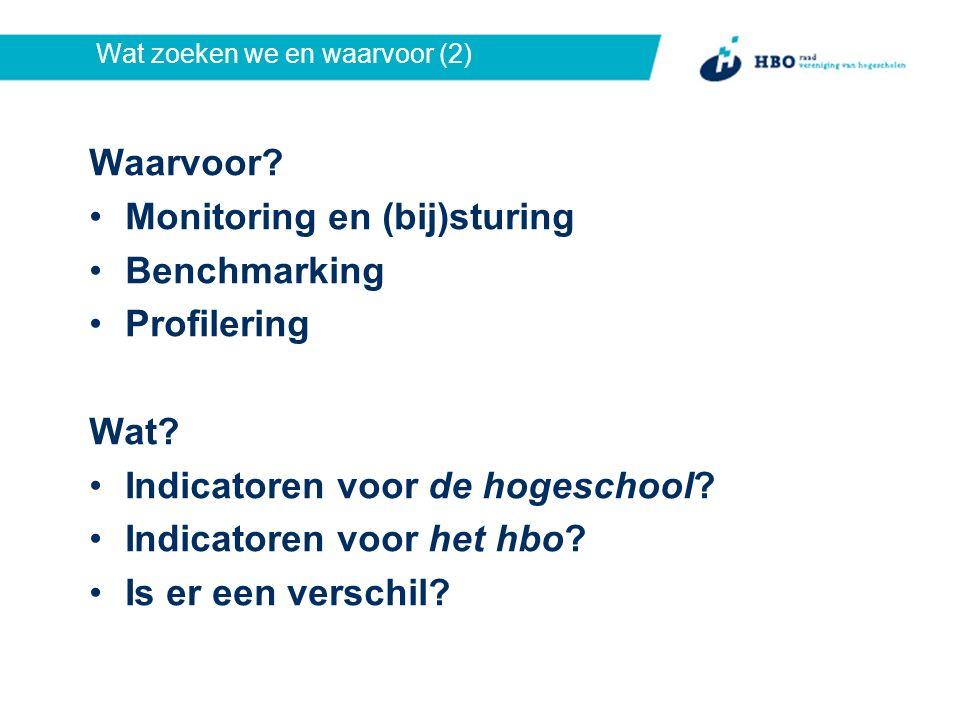 Wat zoeken we en waarvoor (2) Waarvoor. Monitoring en (bij)sturing Benchmarking Profilering Wat.
