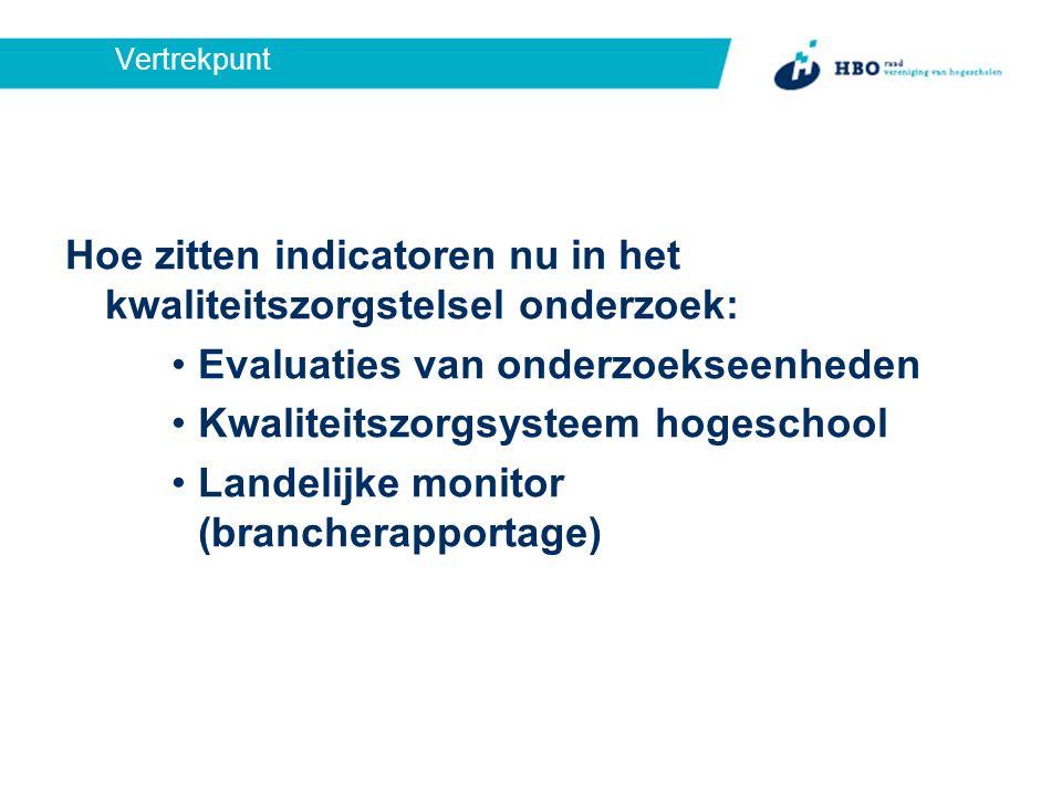 Vertrekpunt Hoe zitten indicatoren nu in het kwaliteitszorgstelsel onderzoek: Evaluaties van onderzoekseenheden Kwaliteitszorgsysteem hogeschool Landelijke monitor (brancherapportage)