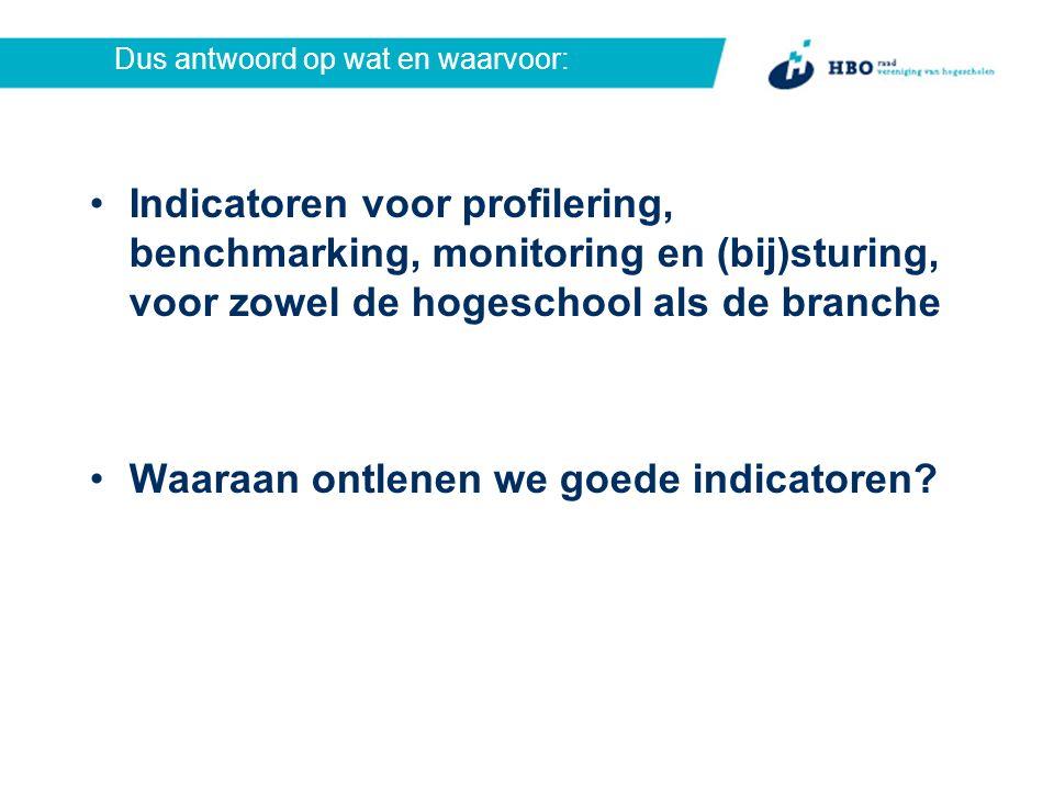 Dus antwoord op wat en waarvoor: Indicatoren voor profilering, benchmarking, monitoring en (bij)sturing, voor zowel de hogeschool als de branche Waaraan ontlenen we goede indicatoren