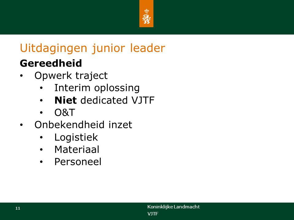 Koninklijke Landmacht 11 VJTF Uitdagingen junior leader Gereedheid Opwerk traject Interim oplossing Niet dedicated VJTF O&T Onbekendheid inzet Logistiek Materiaal Personeel