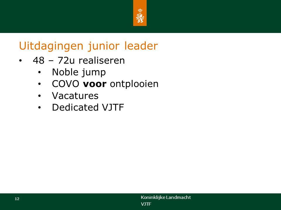 Koninklijke Landmacht 12 VJTF Uitdagingen junior leader 48 – 72u realiseren Noble jump COVO voor ontplooien Vacatures Dedicated VJTF
