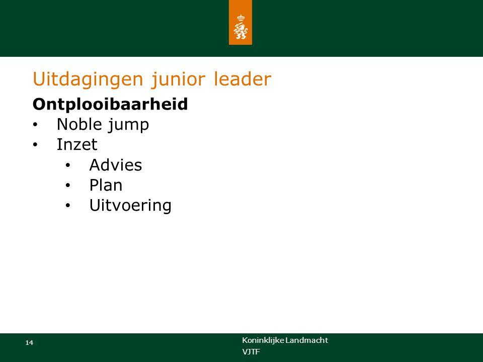 Koninklijke Landmacht 14 VJTF Uitdagingen junior leader Ontplooibaarheid Noble jump Inzet Advies Plan Uitvoering