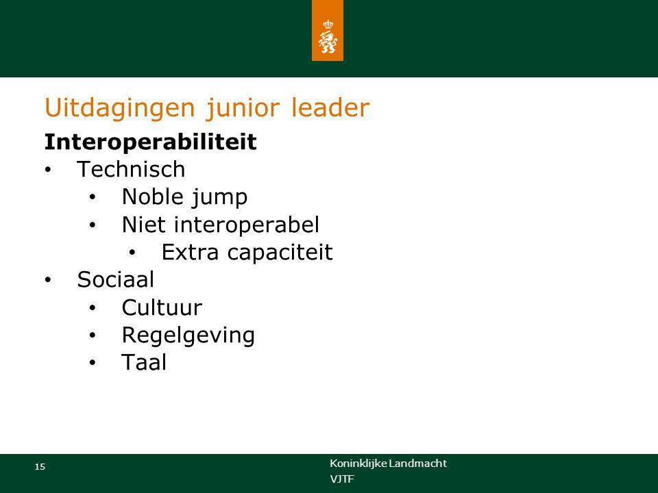 Koninklijke Landmacht 15 VJTF Uitdagingen junior leader Interoperabiliteit Technisch Noble jump Niet interoperabel Extra capaciteit Sociaal Cultuur Regelgeving Taal